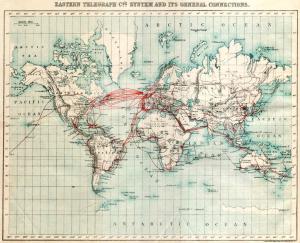 Карта основных телеграфных линий в восточном полушарии в 1901 году