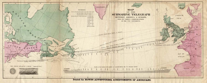 Карта укладки Трансатлантического кабеля - предыстория интернета