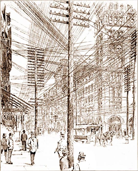 Электрические провода, опутывающие Нью Йорк в 1890 году