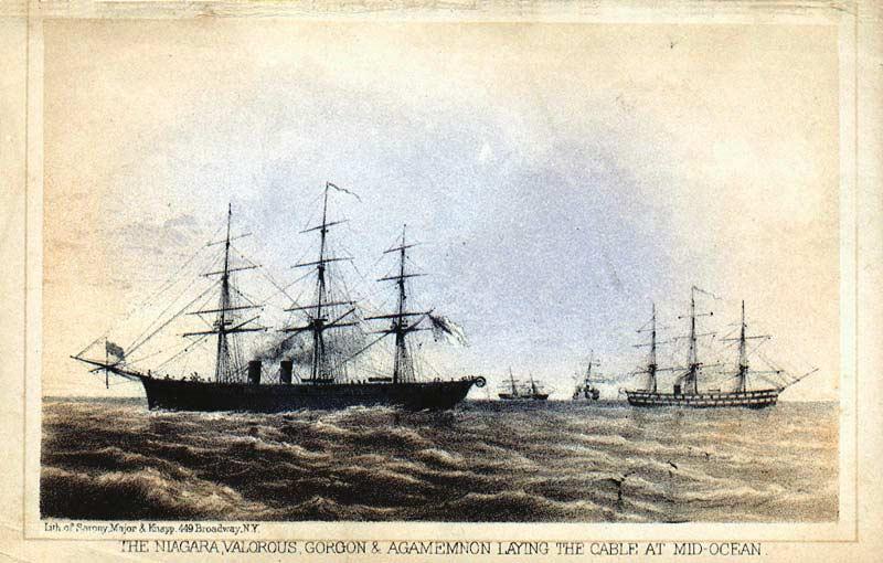 Корабли Ниагара (Niagara) и Агамемнон (Agamemnon) пытаются проложить кабель по дну Атлантического океана