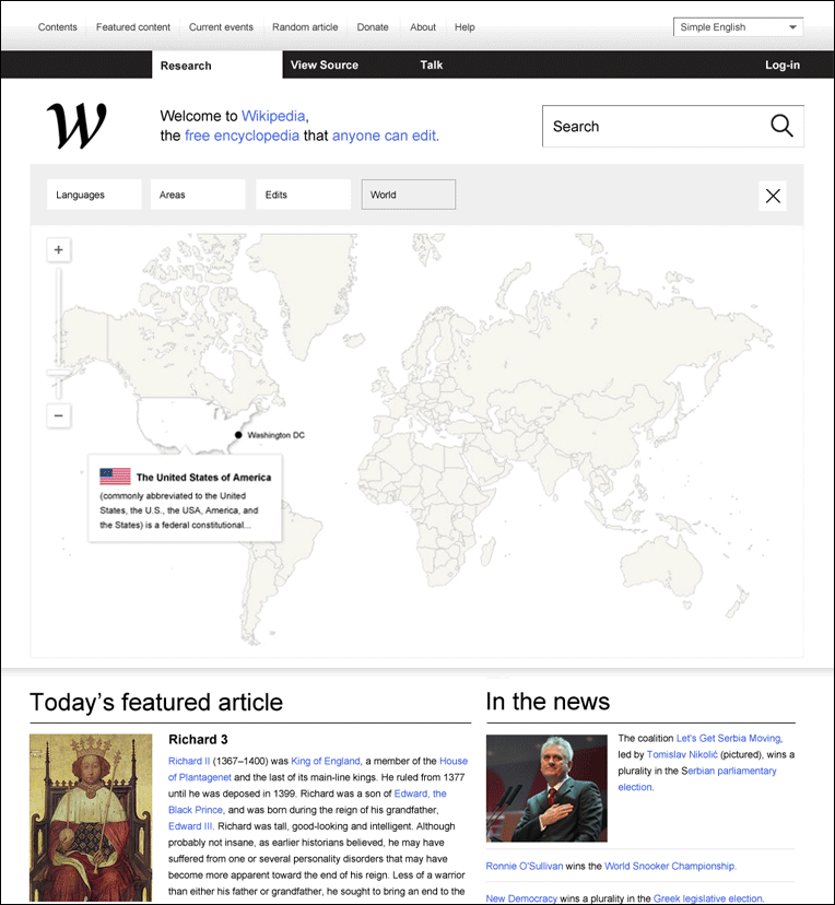 Карта Новой Википедии
